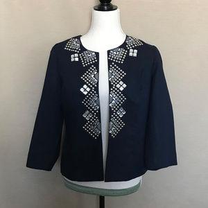 Chico's Blue Rhinestone Studded Cardigan Jacket